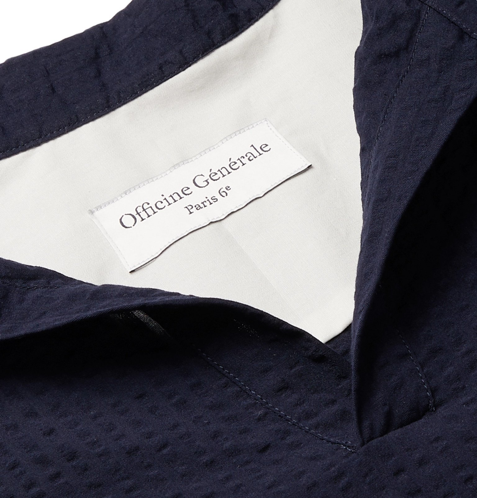 Officine Generale - Yann Cotton-Seersucker Shirt - Blue
