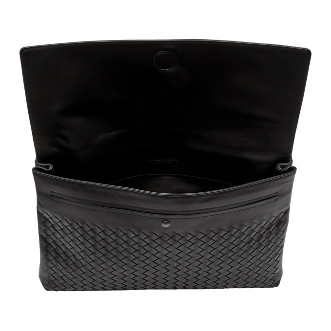 Bottega Veneta Black Intrecciato Flap Document Holder
