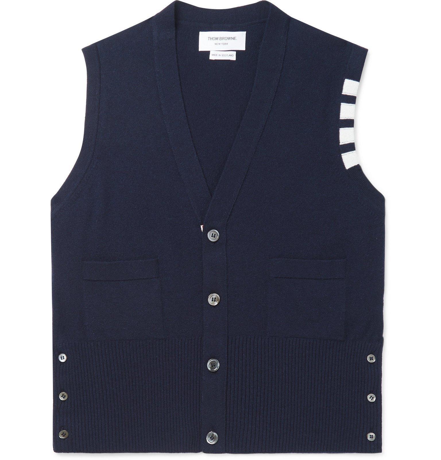 Photo: Thom Browne - Striped Cashmere Sweater Vest - Blue