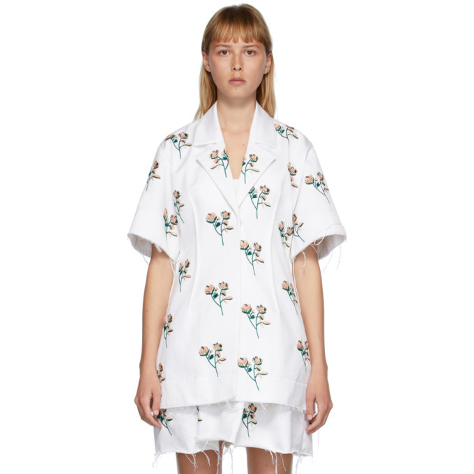 Photo: Marina Moscone White Embroidered Basque Shirt Dress