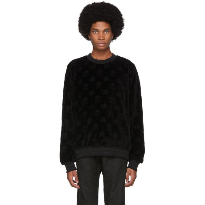 Photo: Dolce and Gabbana Black Velvet DG Crown Sweatshirt