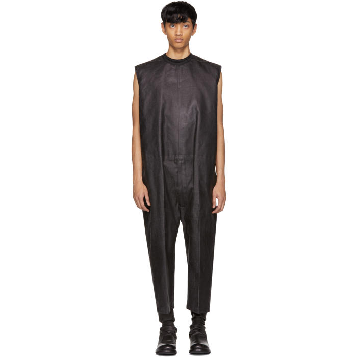 Photo: Rick Owens Black Painted Denim Banana Bag Jumpsuit