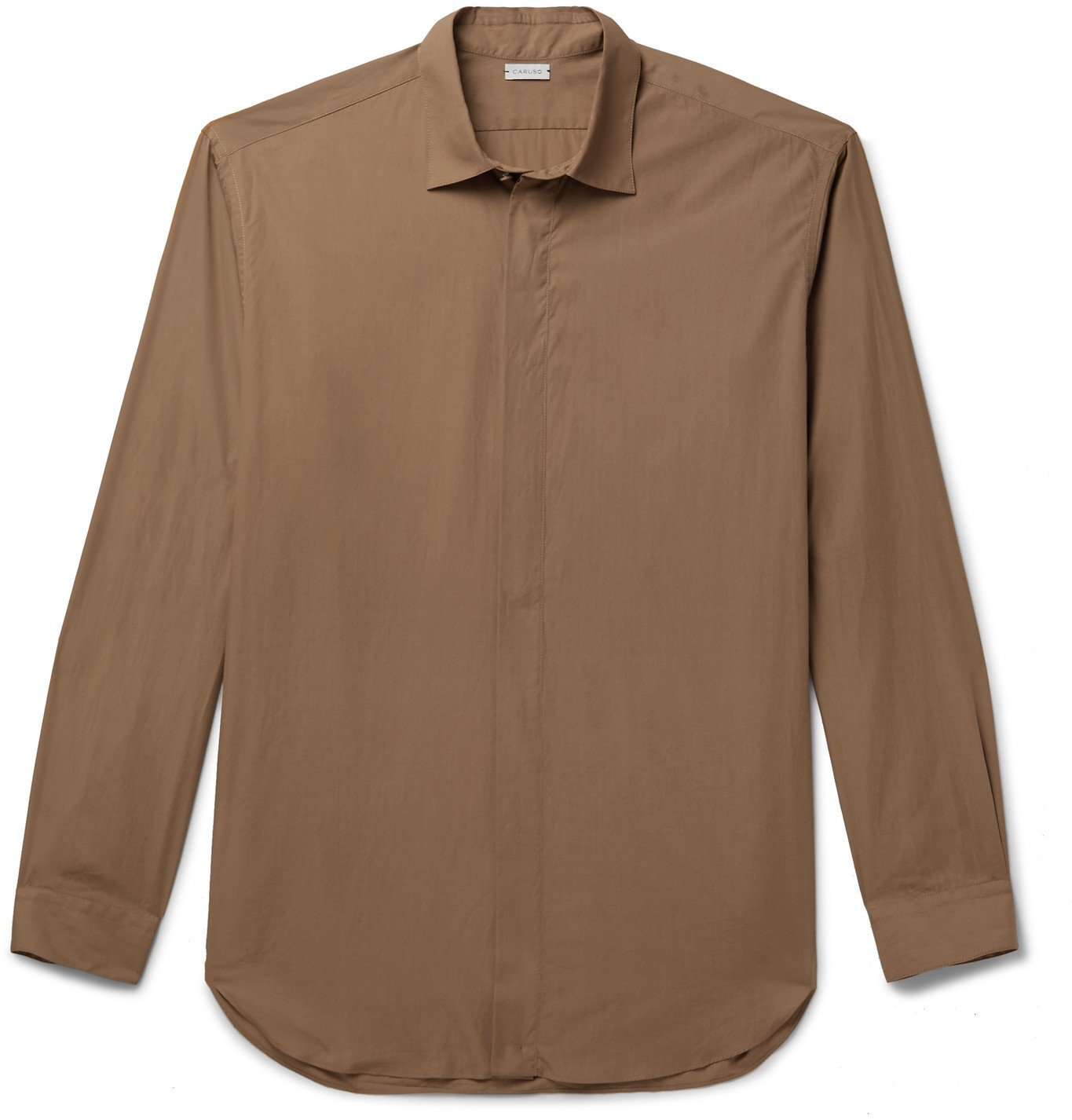 Photo: Caruso - Cutaway-Collar Cotton Shirt - Brown