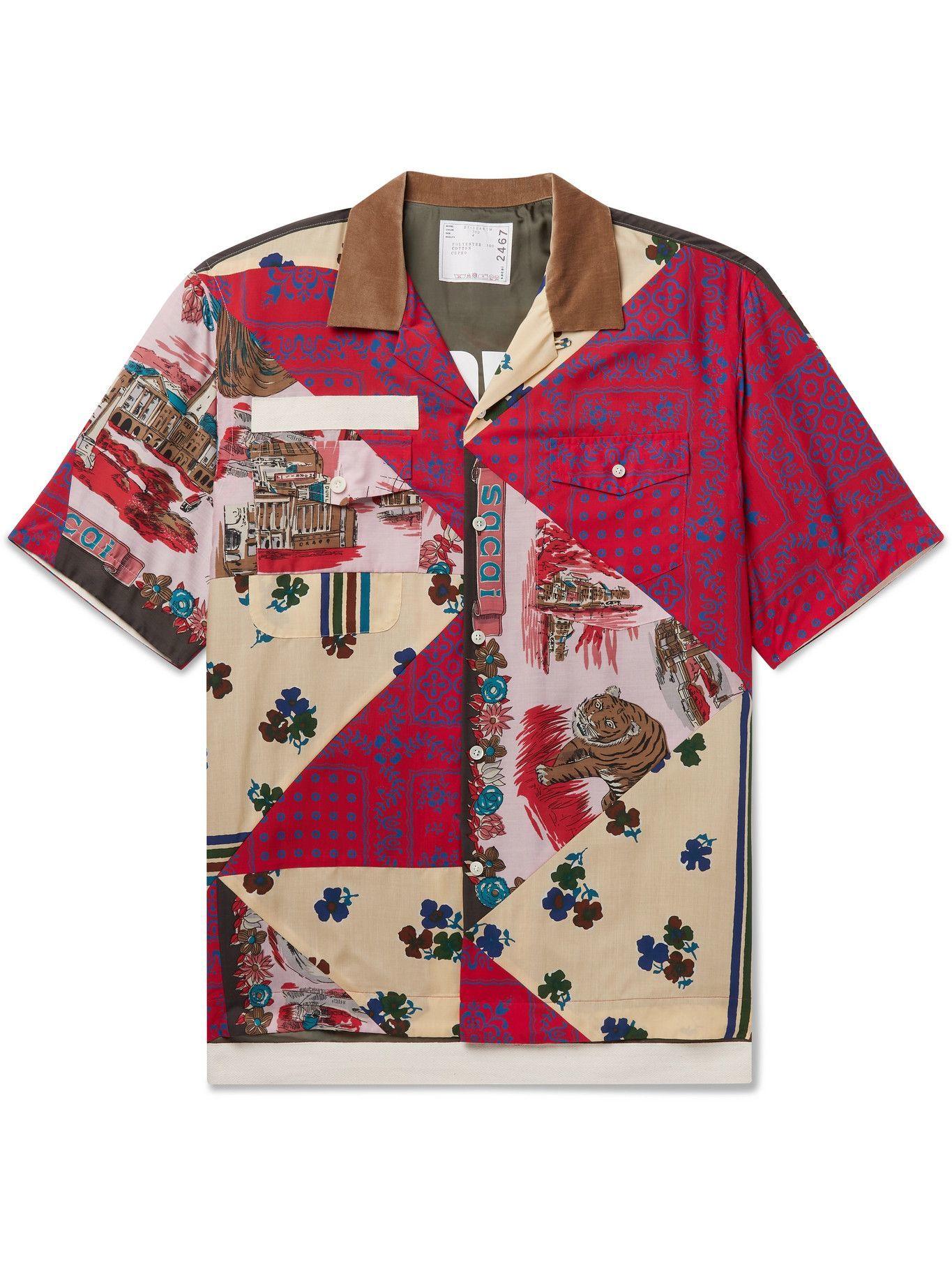 Photo: SACAI - Hank Willis Thomas Camp-Collar Velvet-Trimmed Patchwork Woven Shirt - Multi
