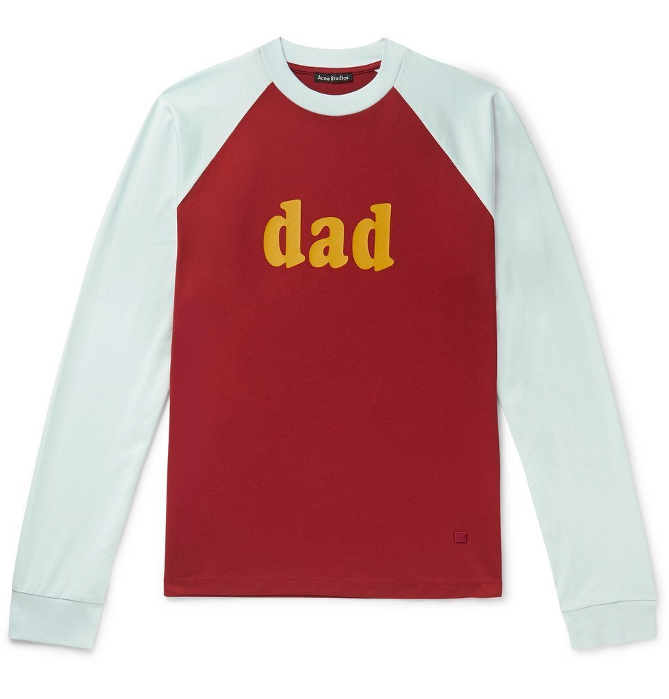 Photo: Acne Studios - Printed Colour-Block Cotton-Jersey T-Shirt - Red