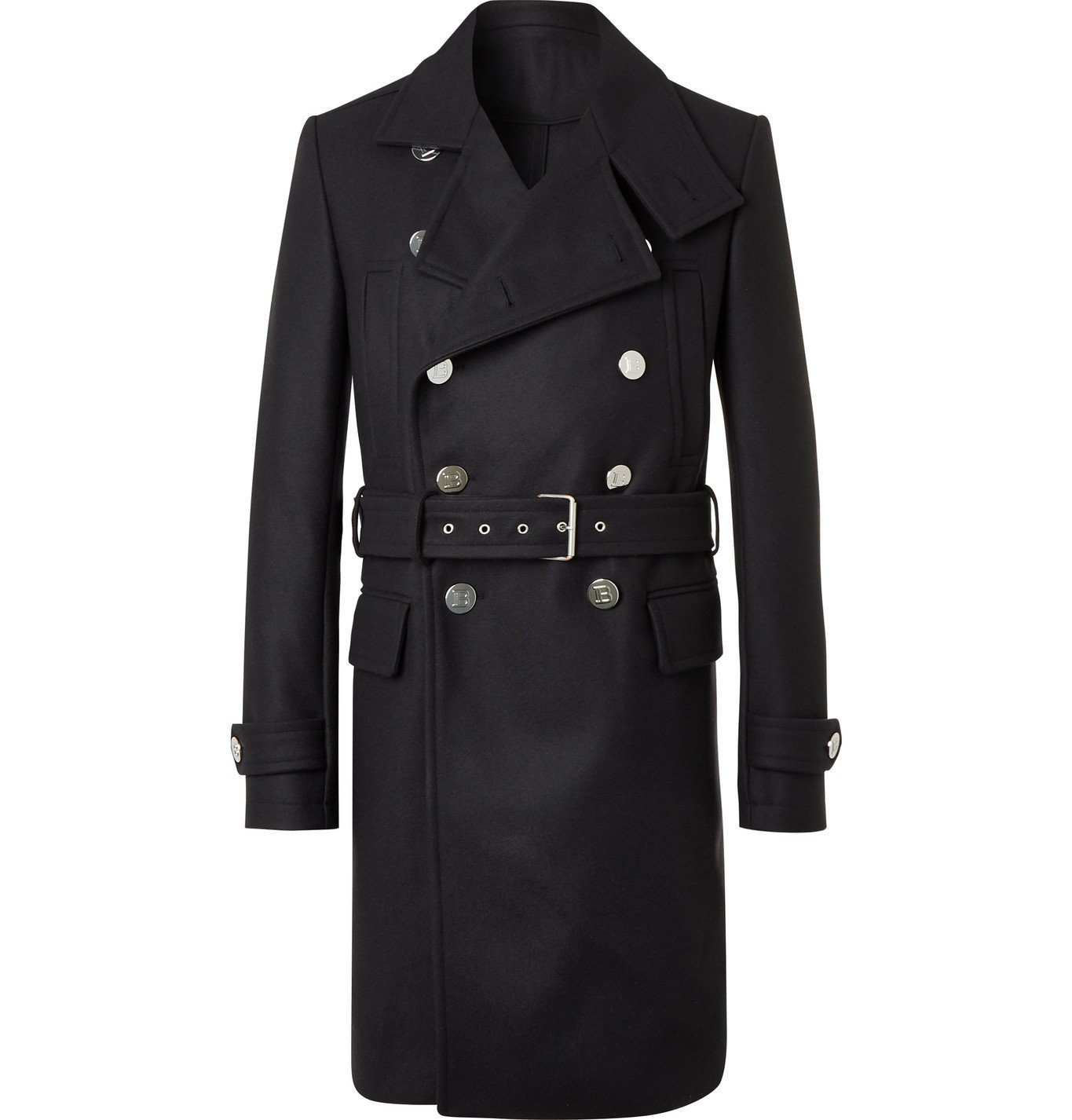 Photo: BALMAIN - Belted Double-Breasted Virgin Wool-Blend Coat - Blue