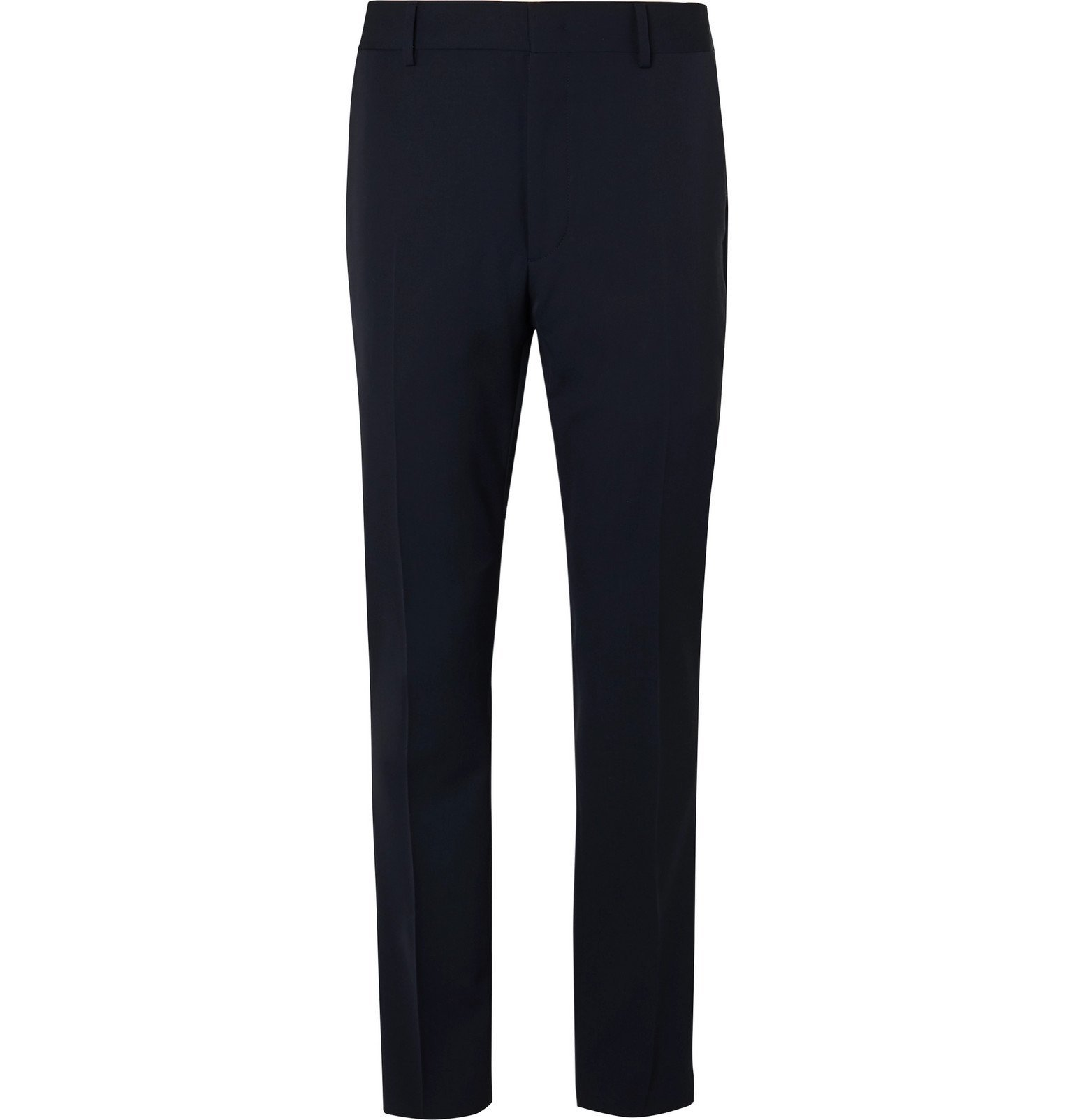 Photo: Fendi - Navy Tapered Satin-Trimmed Wool Trousers - Blue
