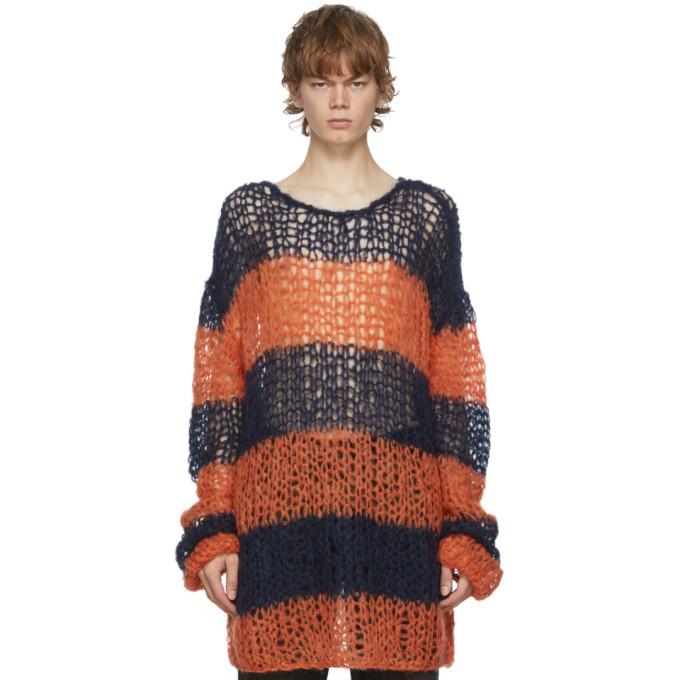 Photo: Raf Simons Navy and Orange Mohair Stripe Punk Sweater