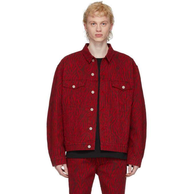 Photo: We11done Red Oversized Denim Zebra Print Jacket