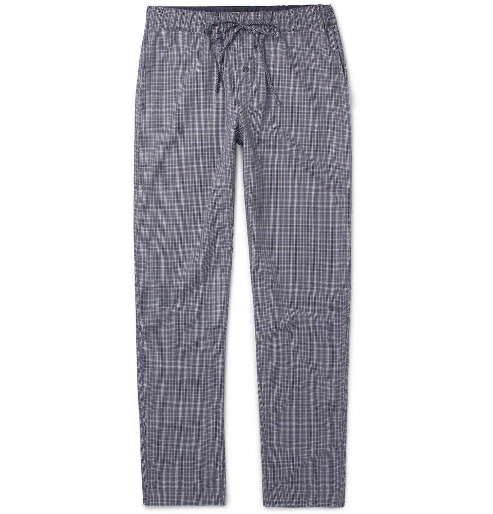 Hanro - Checked Cotton Pyjama Trousers - Men - Gray