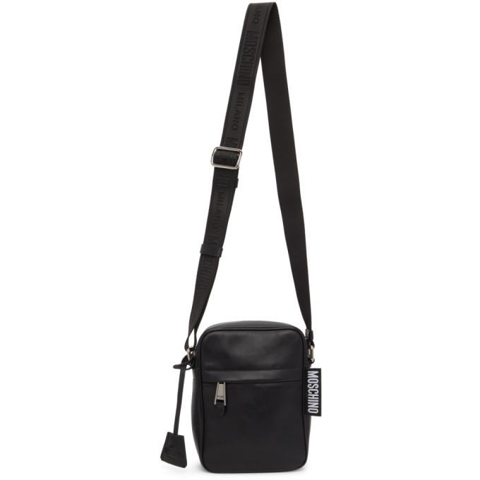 Photo: Moschino Black Leather Messenger Bag