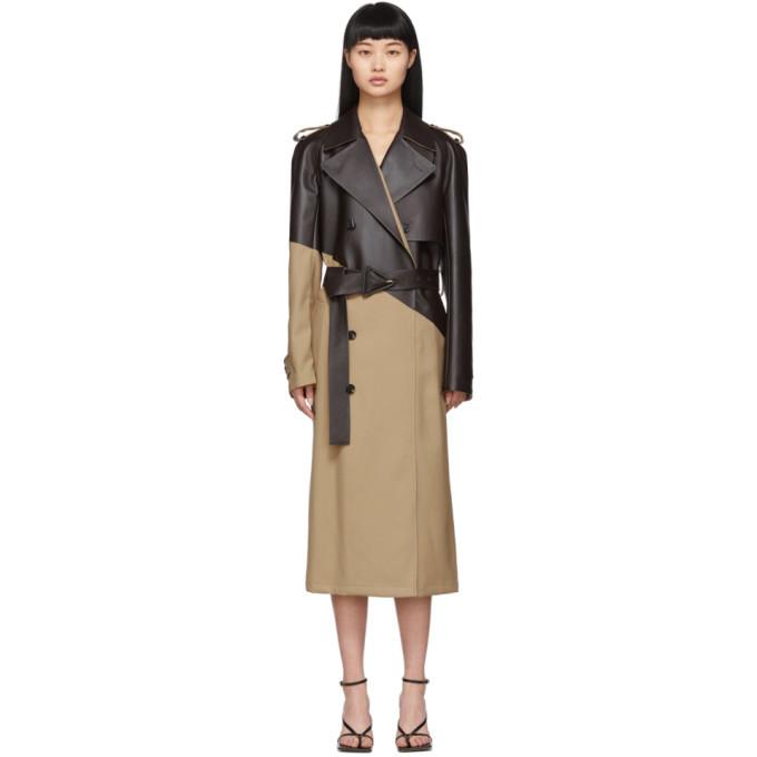 Photo: Bottega Veneta Tan and Brown Leather Trench Coat