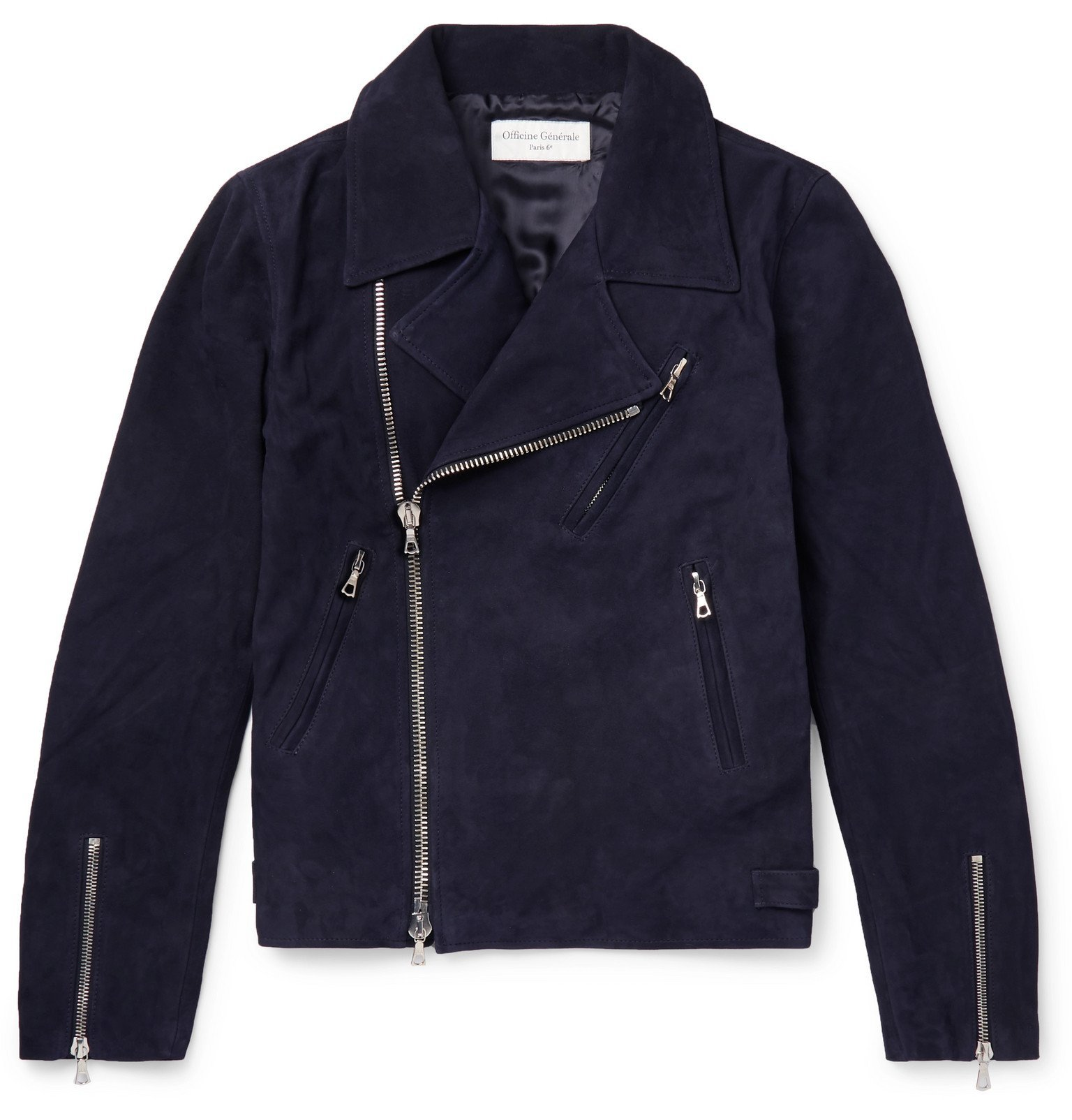 Photo: Officine Generale - Dylan Suede Biker Jacket - Blue