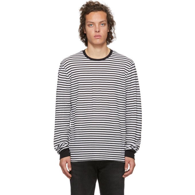 Photo: Frame Black and White Thermal Long Sleeve T-Shirt