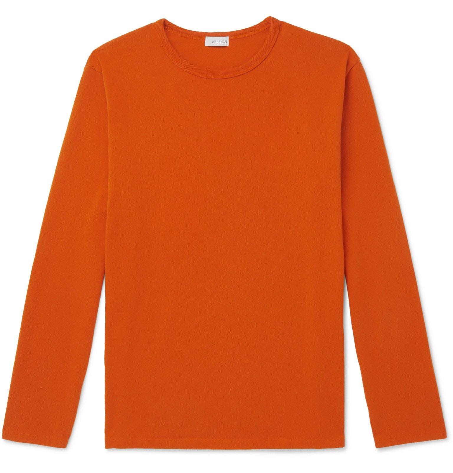 Photo: nanamica - Coolmax Cotton-Blend Jersey T-Shirt - Orange