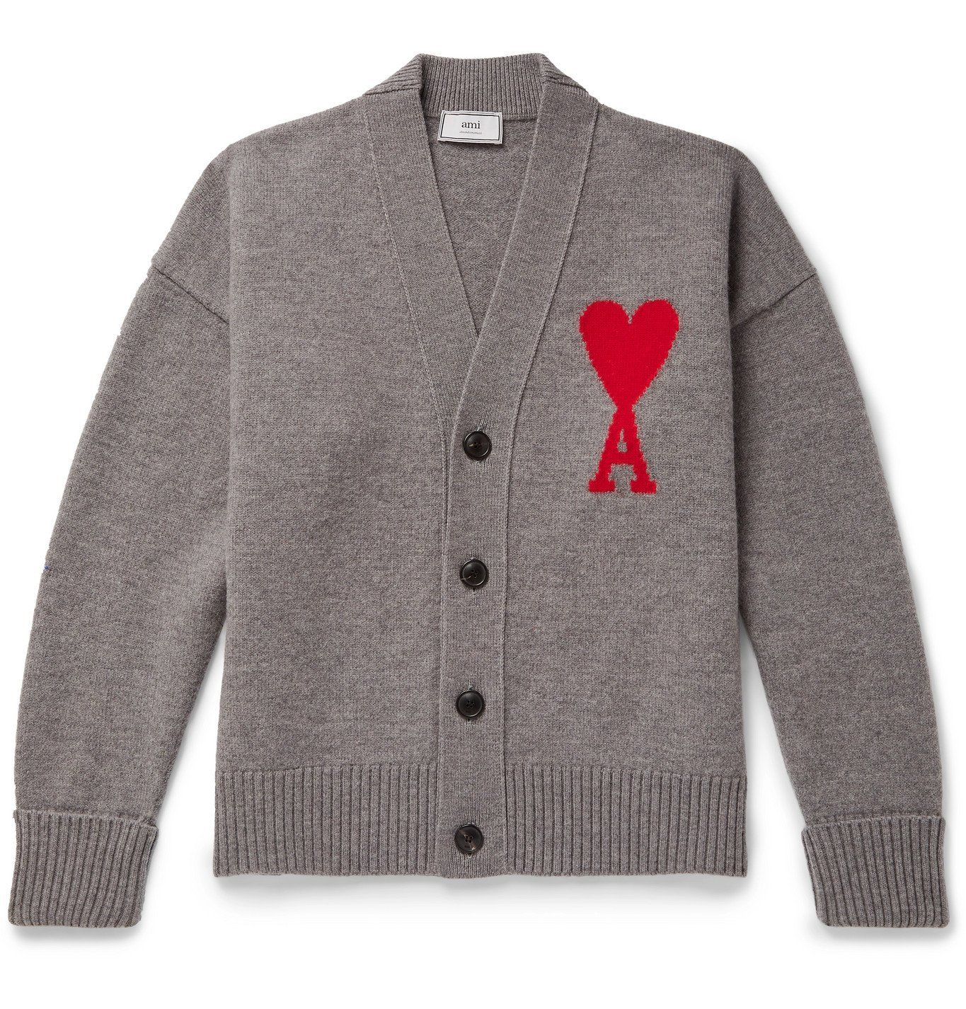 Photo: AMI - Logo-Intarsia Mélange Merino Wool Cardigan - Gray