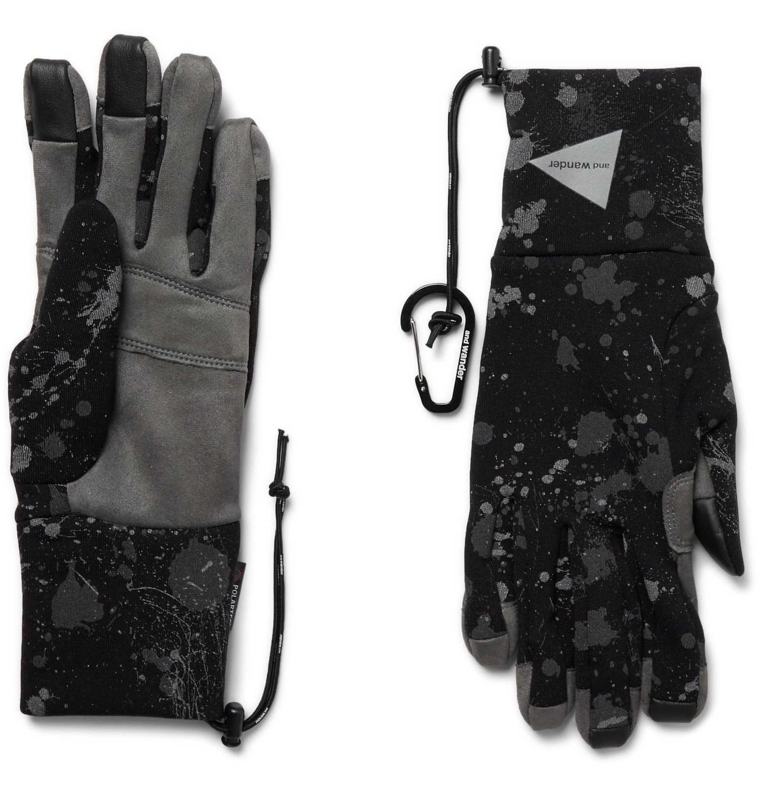 Photo: And Wander - Leather-Trimmed Reflective Polartec Gloves - Black