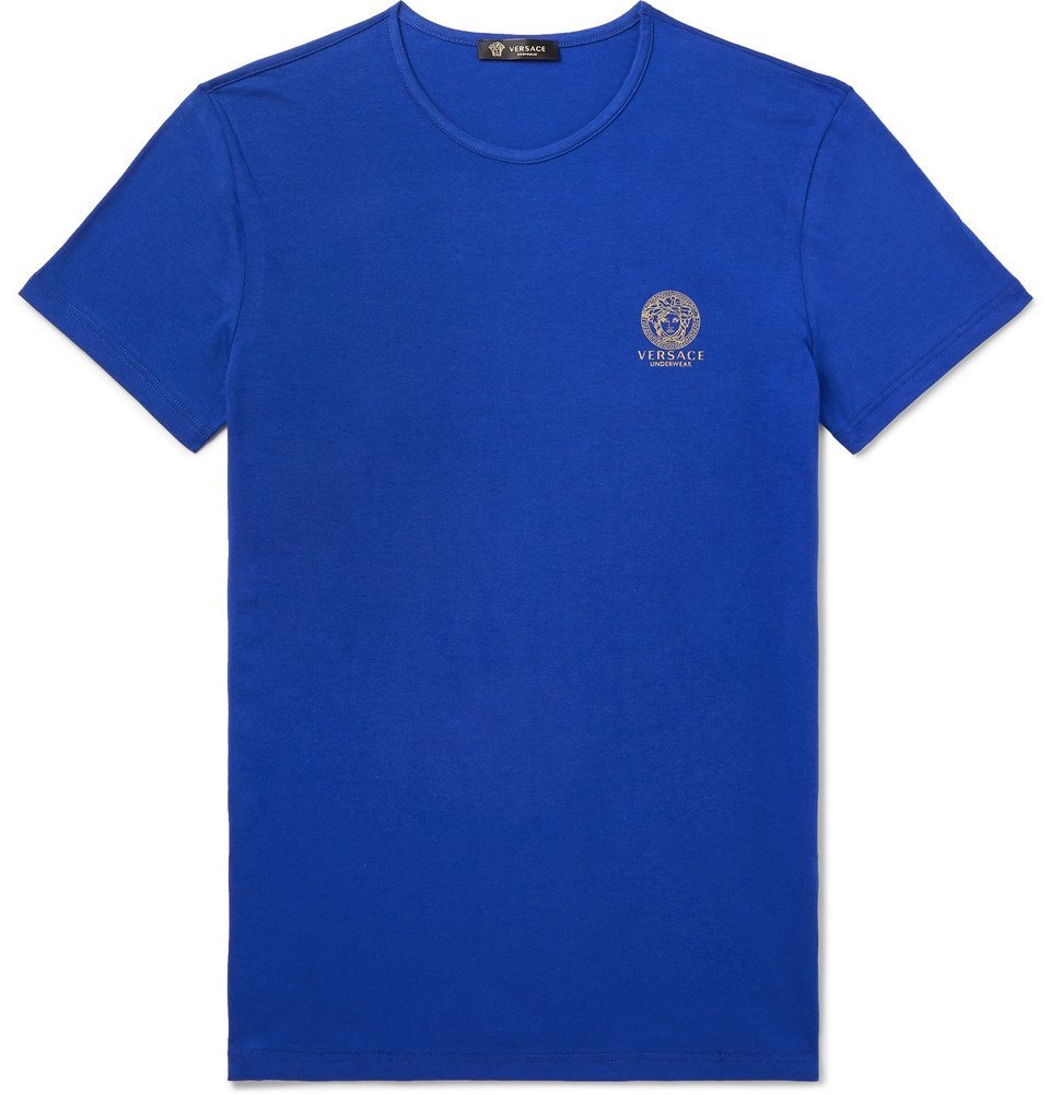 Photo: Versace - Slim-Fit Logo-Print Stretch-Cotton Jersey T-Shirt - Blue