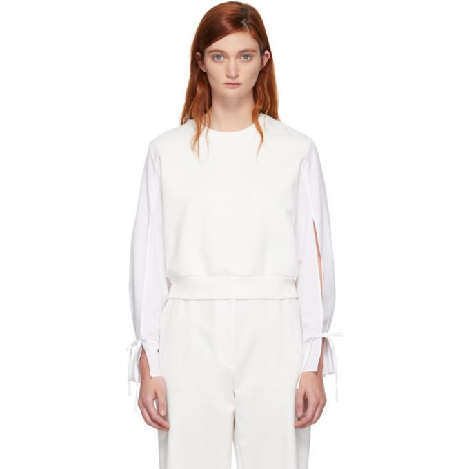3.1 Phillip Lim Off-White Cropped Poplin Sleeves Sweatshirt