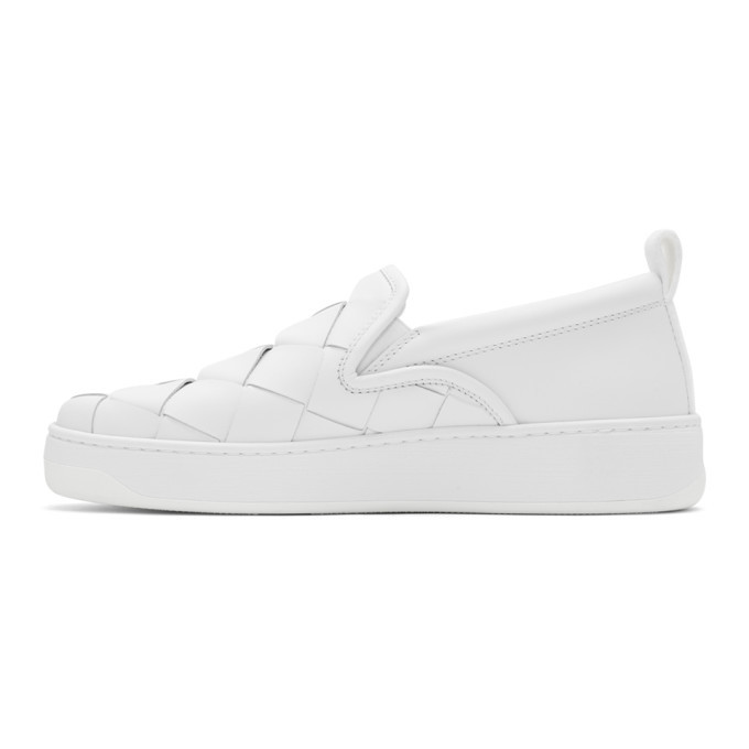 Bottega Veneta White Maxi Intrecciato Slip-On Sneakers