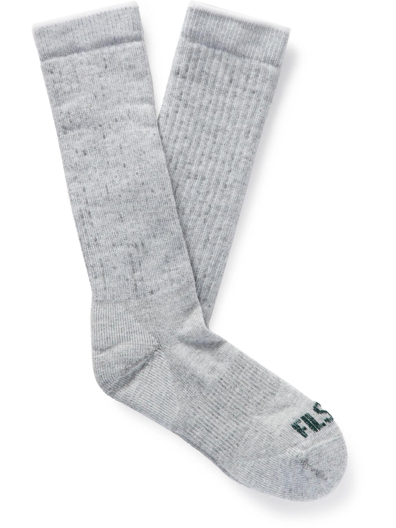 FILSON - Logo-Intarsia Merino Wool-Blend Socks - Gray