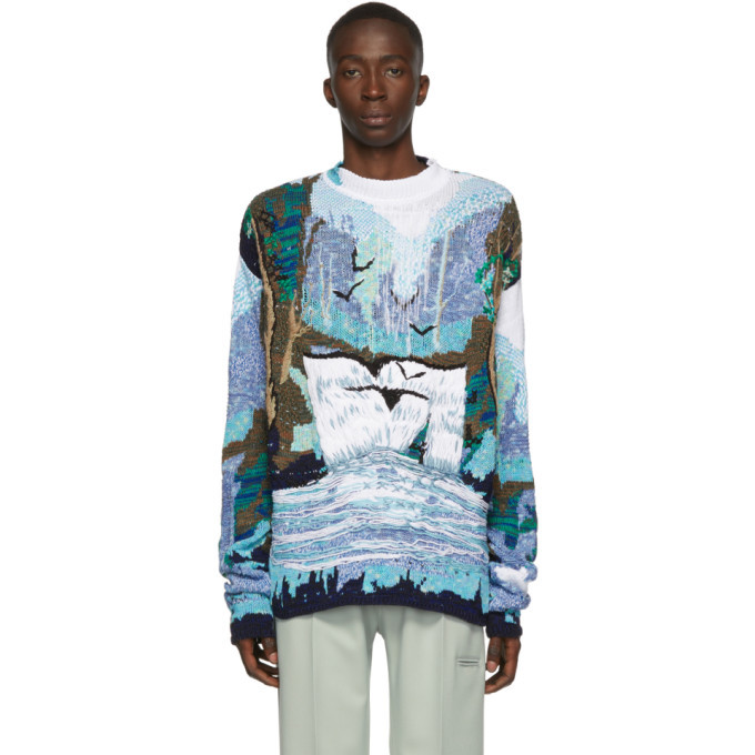 Off-White Blue and White Waterfall Sweater