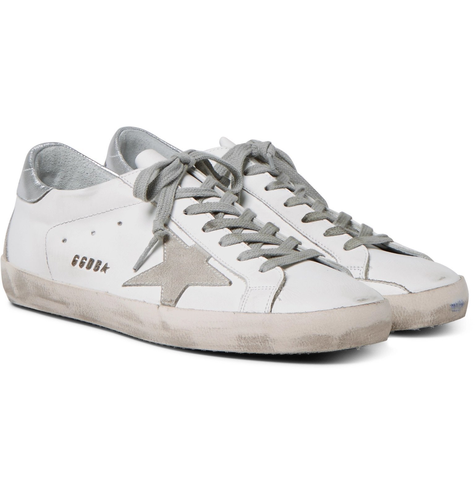 Photo: Golden Goose - Superstar Distressed Leather and Suede Sneakers - White
