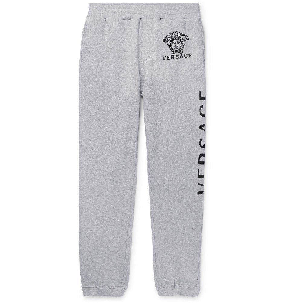 Photo: Versace - Logo-Embroidered Loopback Cotton-Jersey Sweatpants - Gray