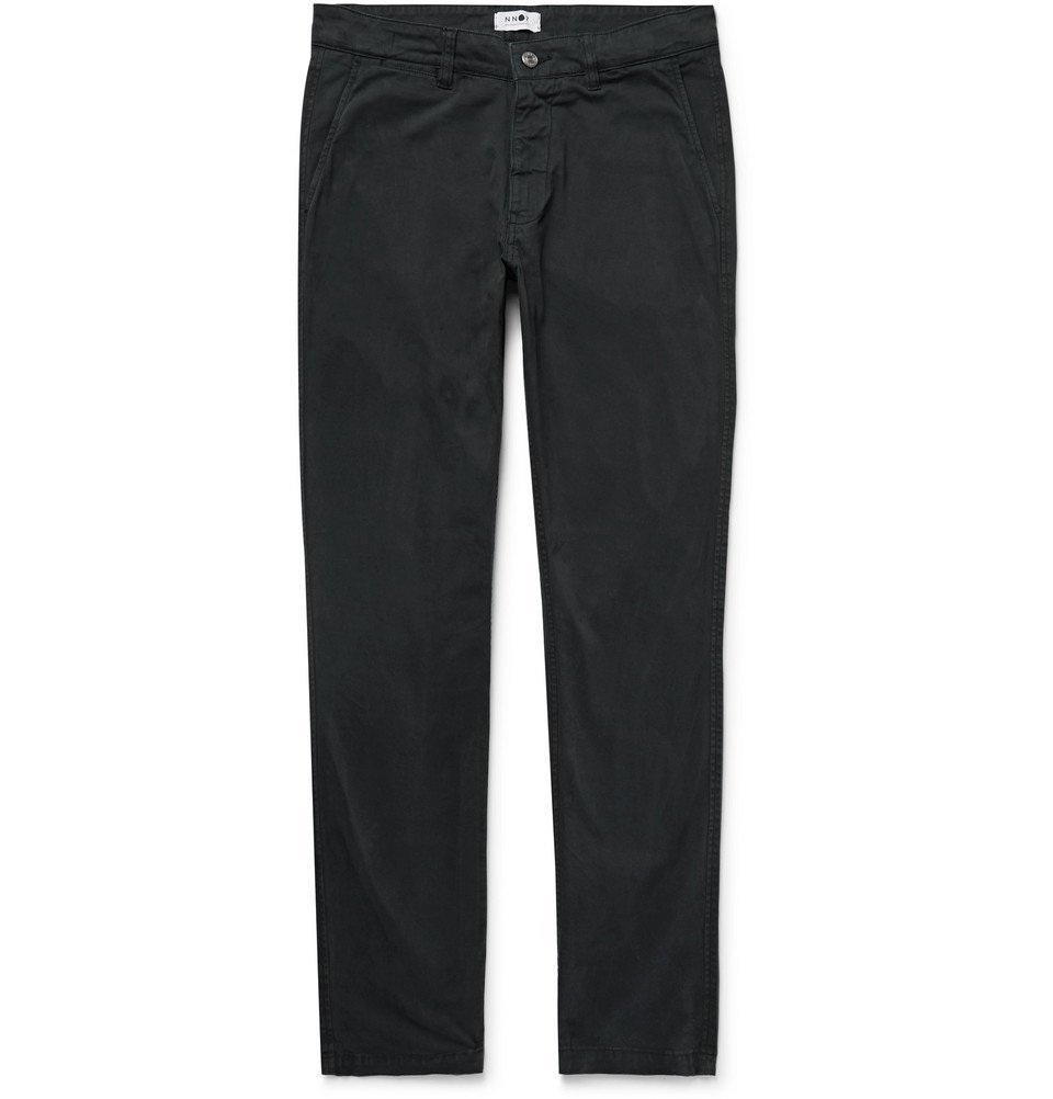 Photo: NN07 - Marco Slim-Fit Garment-Dyed Stretch-Cotton Twill Chinos - Charcoal