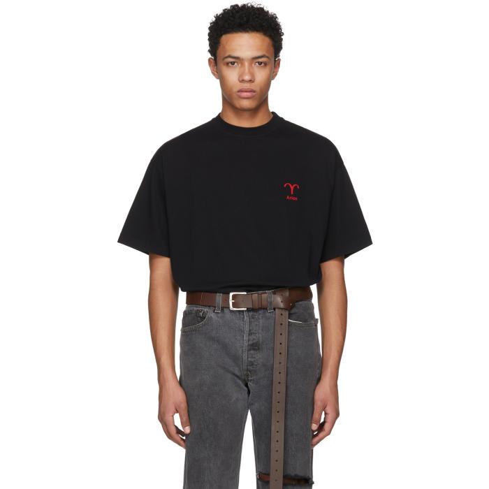 Vetements Black Aries Horoscope T-Shirt