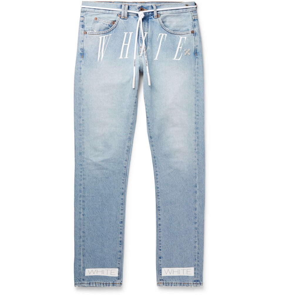 Photo: Off-White - Slim-Fit Logo-Print Denim Jeans - Blue