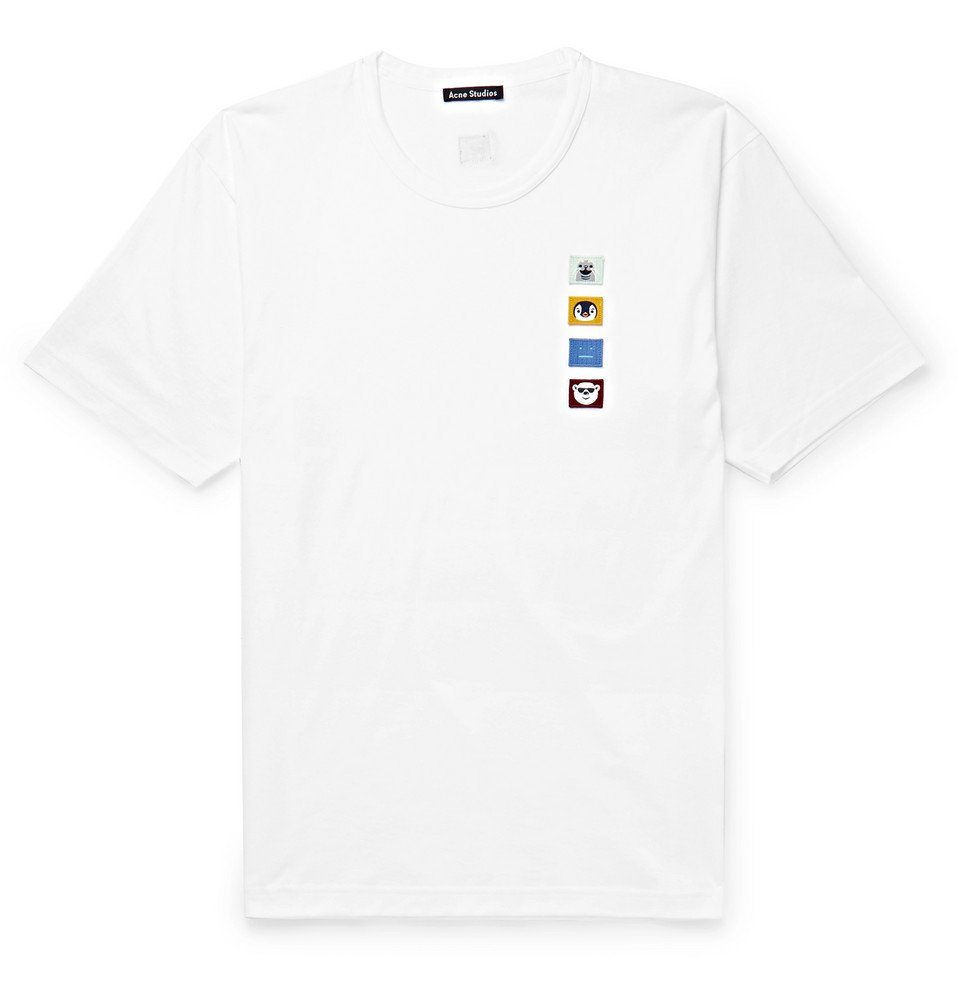 Photo: Acne Studios - Appliquéd Cotton-Jersey T-Shirt - White