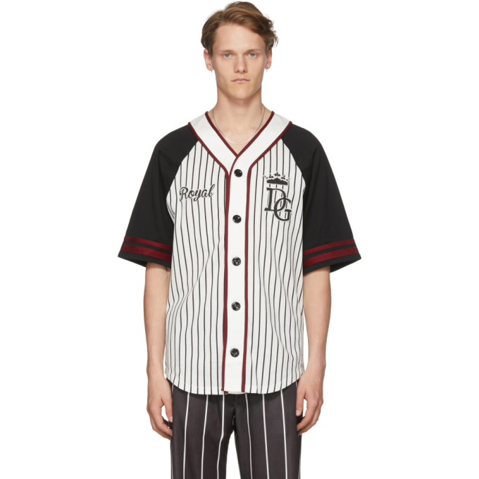 Photo: Dolce and Gabbana Black and White Striped Baseball Shirt