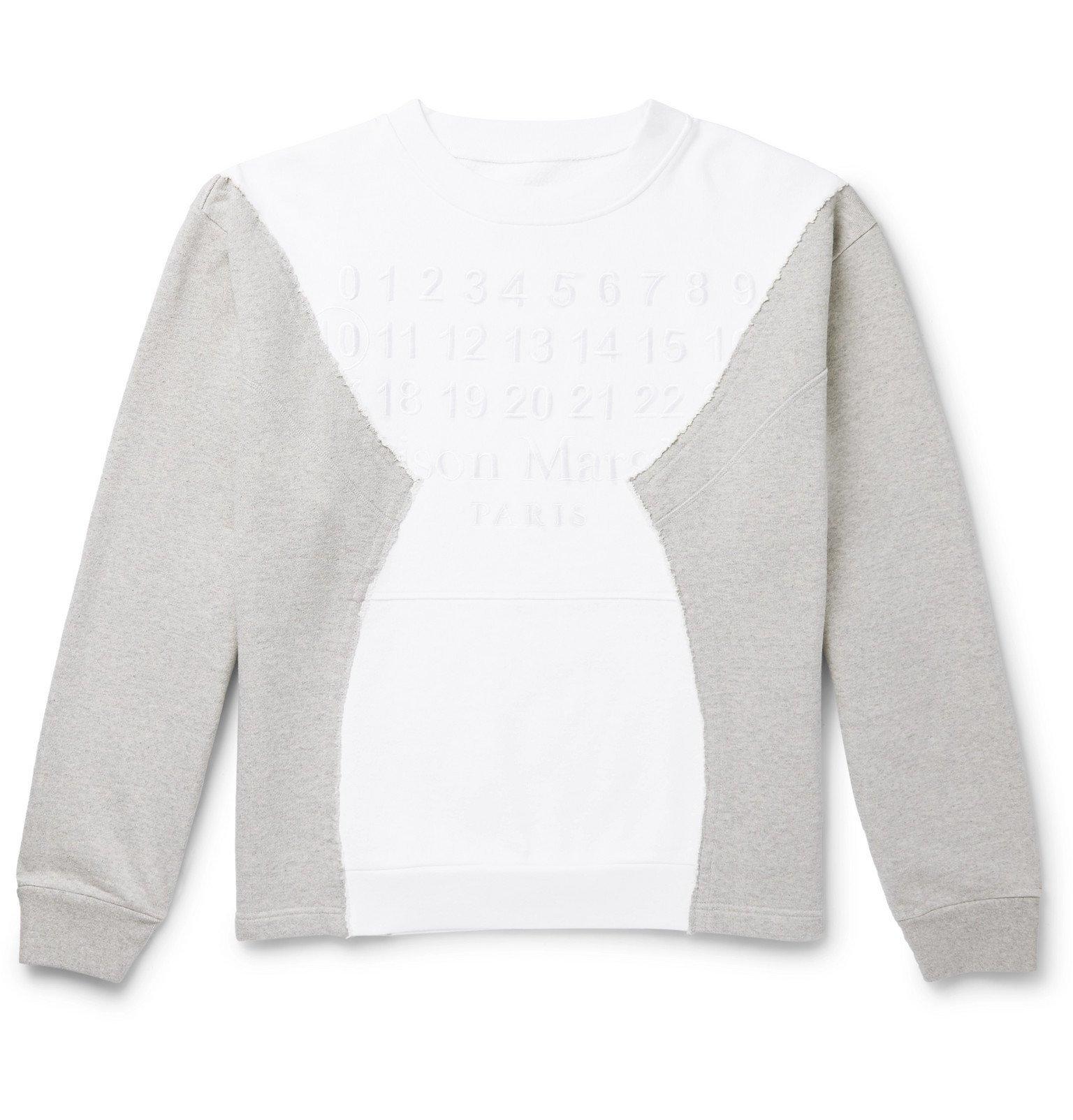 Photo: Maison Margiela - Oversized Logo-Embroidered Patchwork Loopback Cotton-Jersey Sweatshirt - White