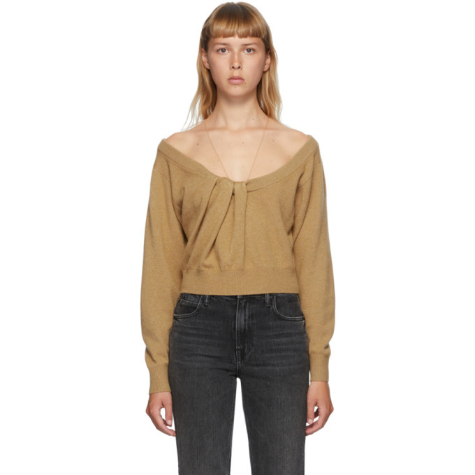 Photo: Alexander Wang Brown Draped Neck Pullover Sweater