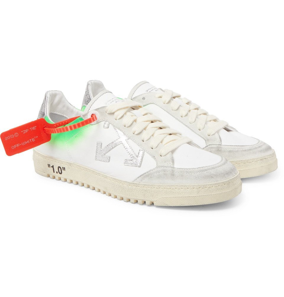 Photo: Off-White - 2.0 Distressed Suede-Trimmed Leather Sneakers - White