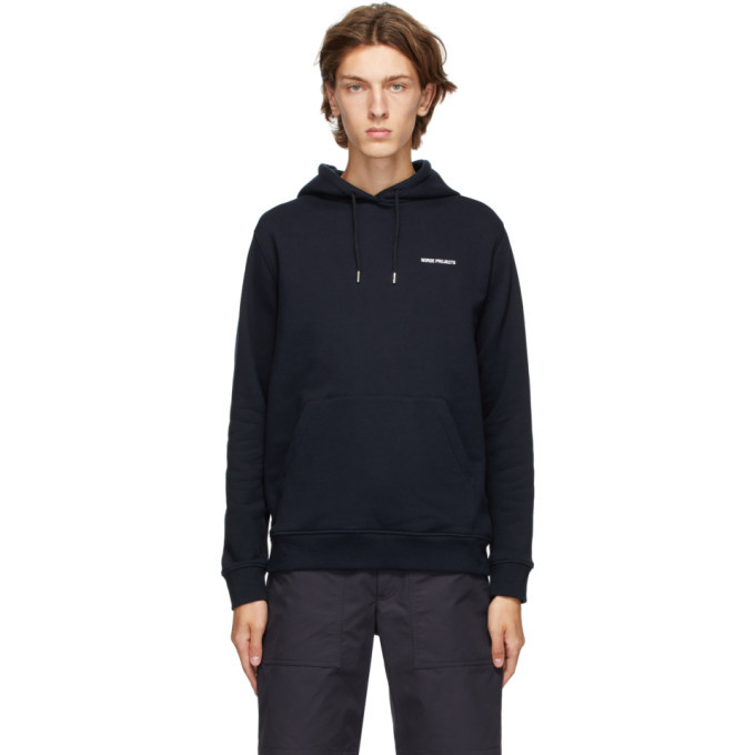 Photo: Norse Projects Navy Vagn Logo Hoodie
