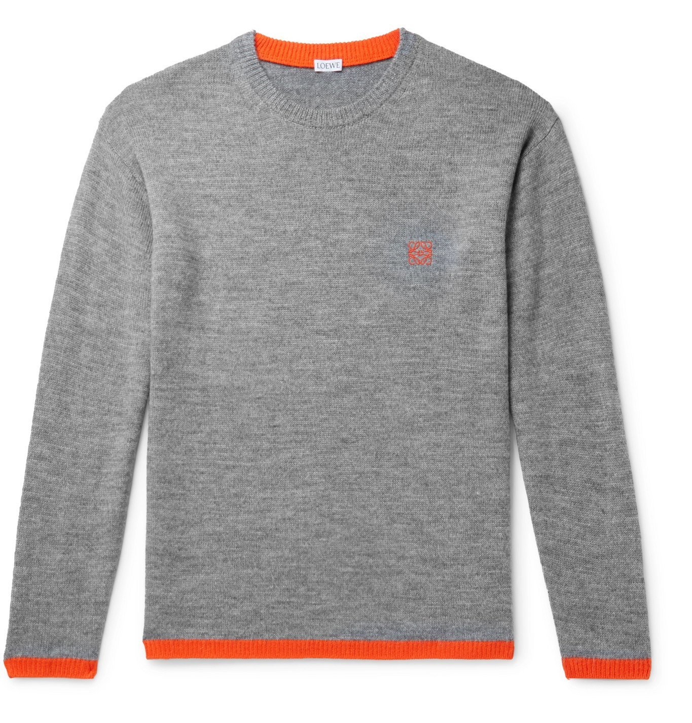 Photo: Loewe - Logo-Embroidered Mélange Knitted Sweater - Gray