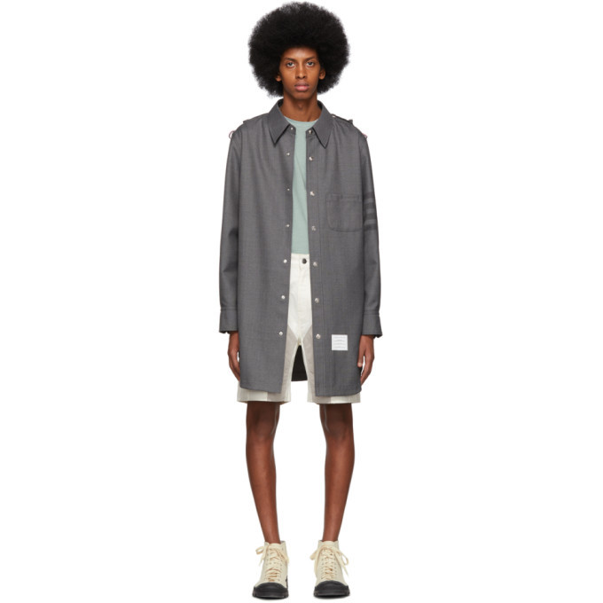Photo: Thom Browne Grey Twill 4-Bar Snap Front Shirt Jacket