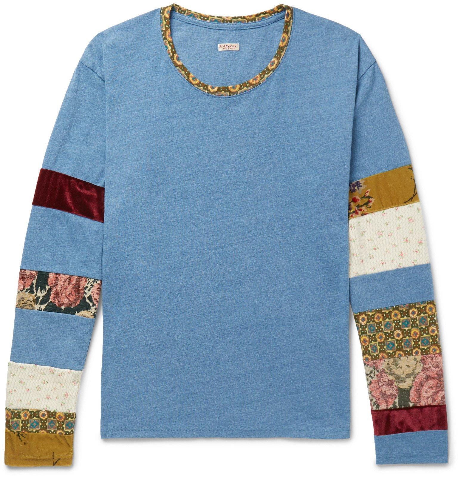 KAPITAL - Panelled Cotton-Jersey T-Shirt - Blue