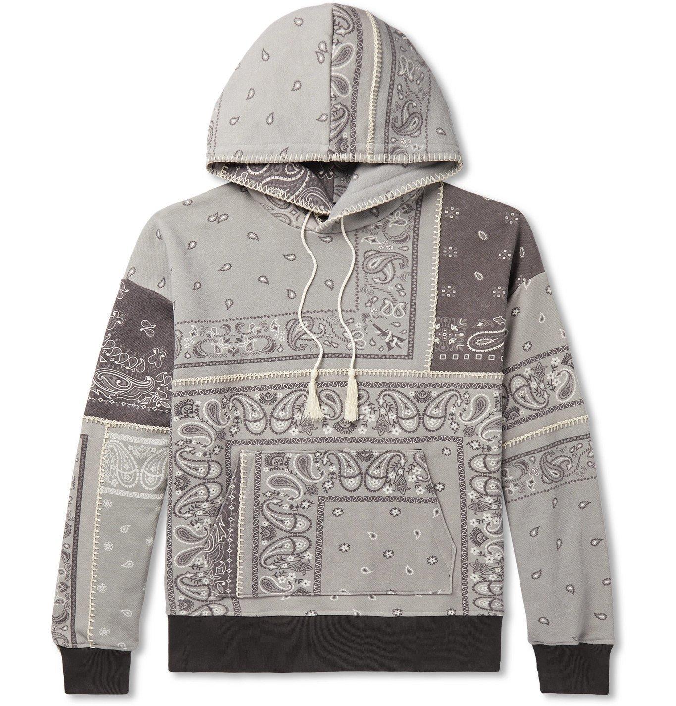 Photo: AMIRI - Oversized Bandana-Print Loopback Cotton-Jersey Hoodie - Gray
