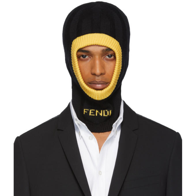 Photo: Fendi Black and Yellow Logo Balaclava