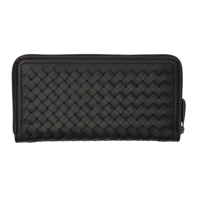 Photo: Bottega Veneta Black Intrecciato Carryover Wallet