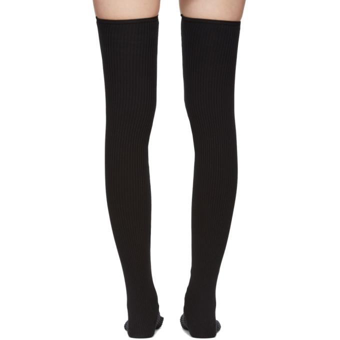 a14caf946a0f8 Sacai SSENSE Exclusive Black Faux-Leather Thigh-High Socks Sacai