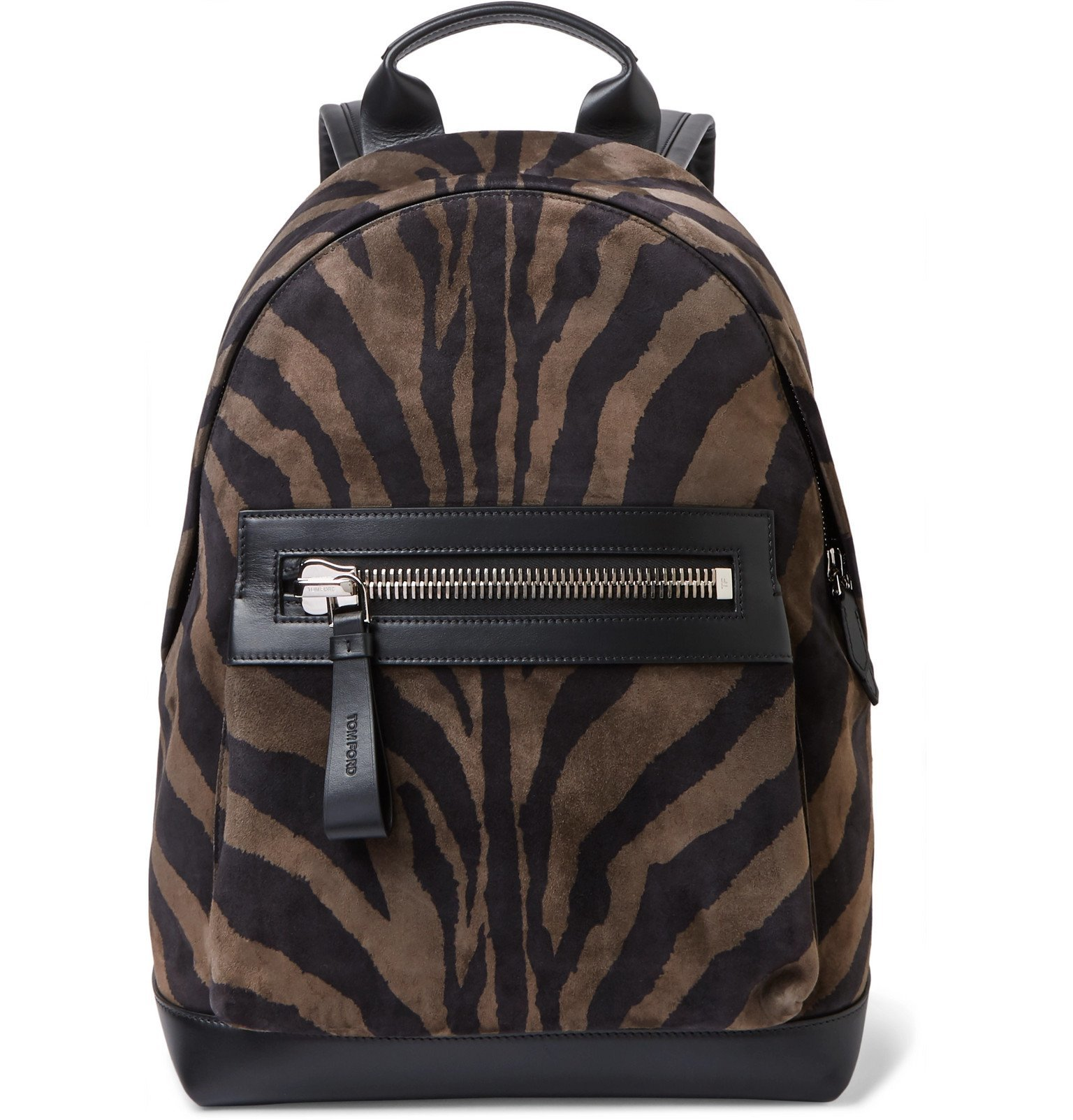 Photo: TOM FORD - Buckley Leather-Trimmed Zebra-Print Suede Backpack - Black