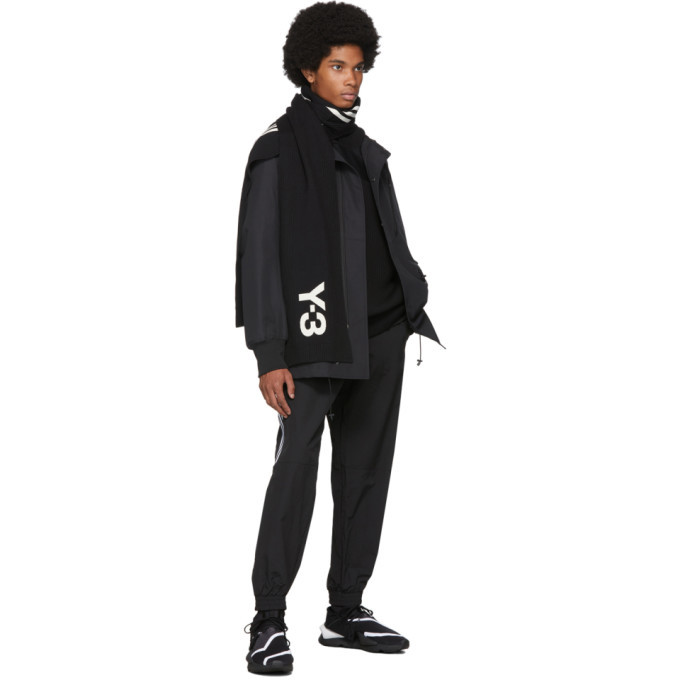 Y-3 Black and Off-White 3-Stripe Scarf