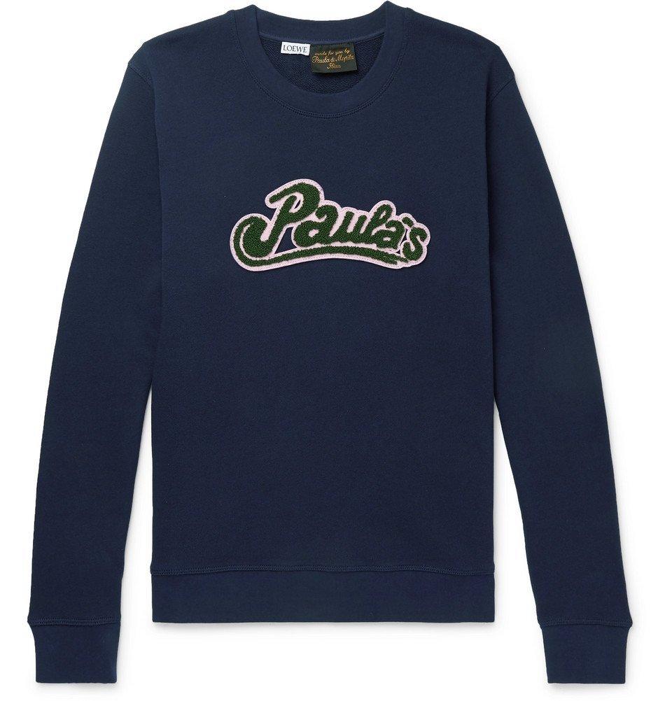 Photo: Loewe - Paula's Ibiza Logo-Appliquéd Cotton Sweatshirt - Navy