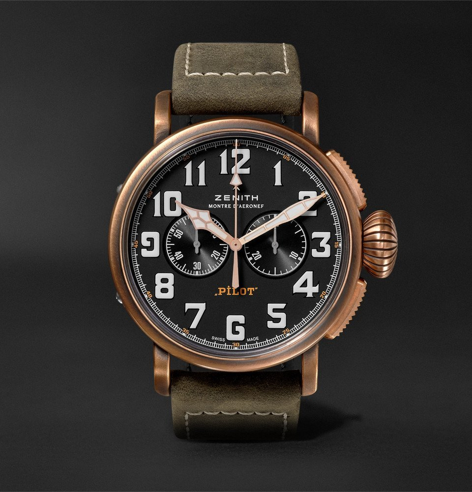 Photo: Zenith - Pilot Type 20 Extra Special Chronograph 45mm Bronze and Nubuck Watch - Black