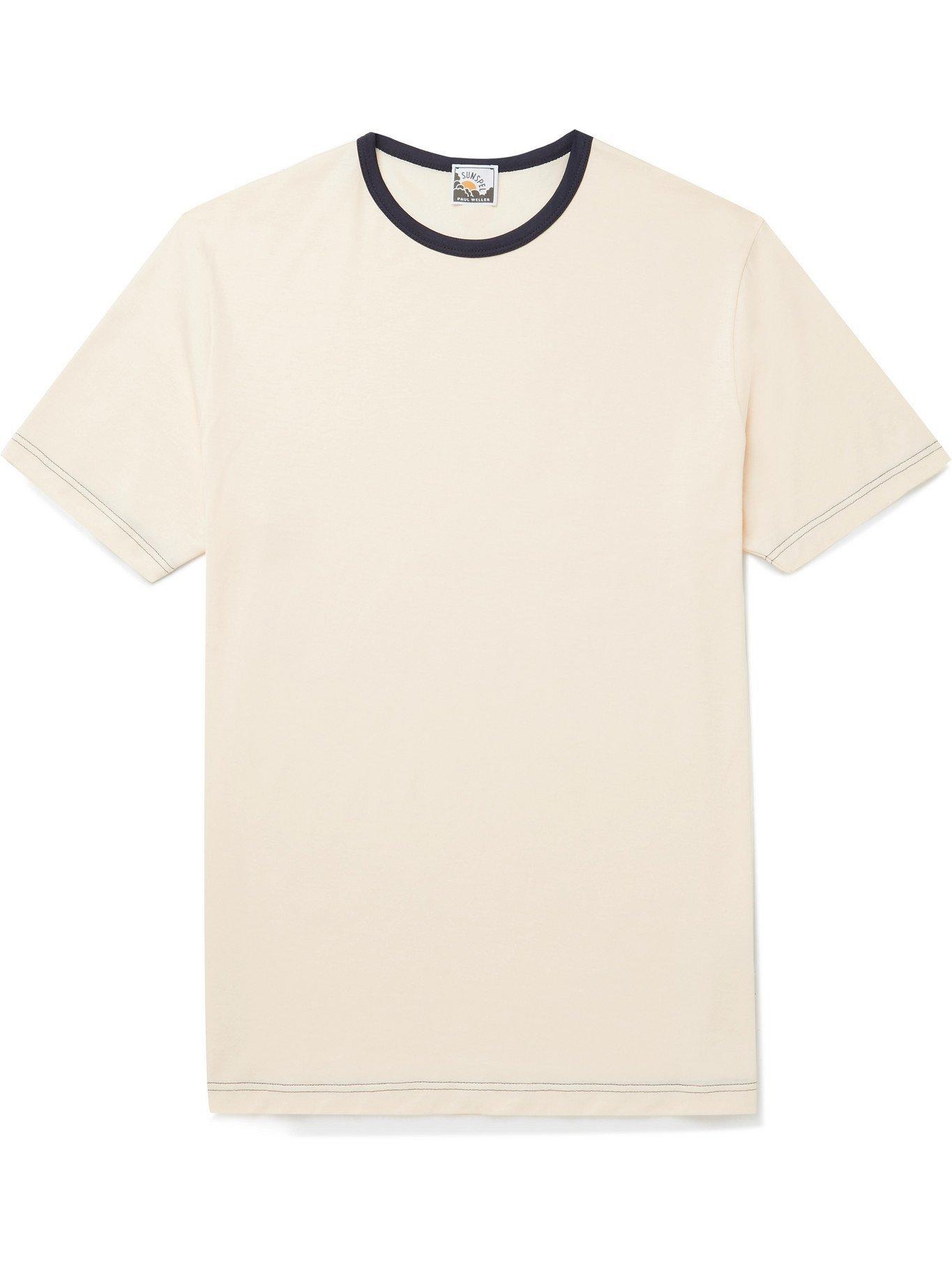 SUNSPEL - Paul Weller Slim-Fit Contrast-Tipped Cotton-Jersey T-Shirt - White - S