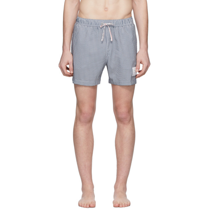 Photo: Thom Browne Navy and White Striped Seersucker Drawcord Shorts